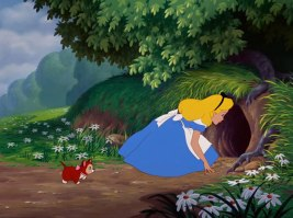 Alice-Looking-Down-the-Rabbit-Hole-in-Alice-in-Wonderland
